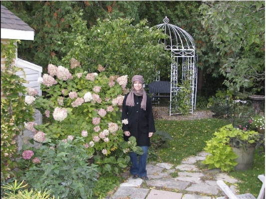 Karen Young in her back garden